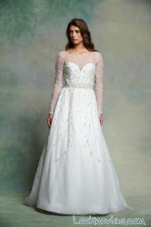 vestido de novia con mangas enaura bridal