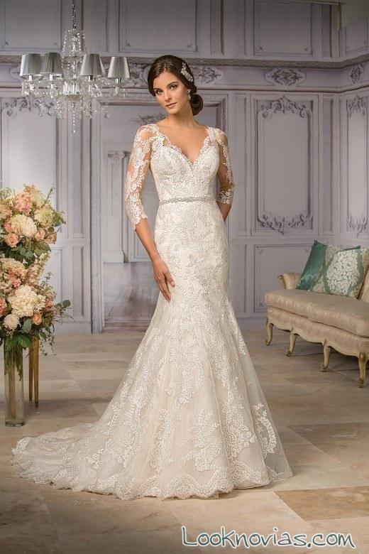 vestido de novia con mangas y corte sirena