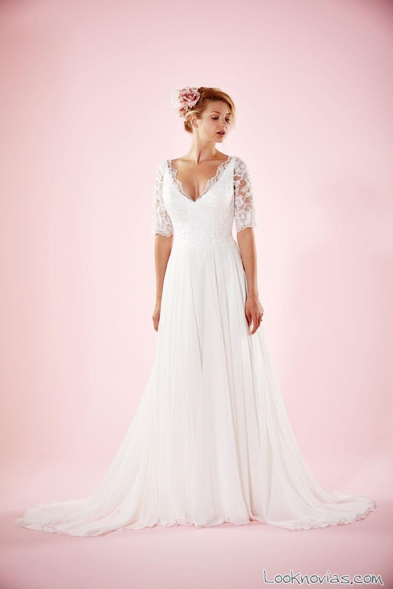 vestido de novia con media manga de charlotte balbier