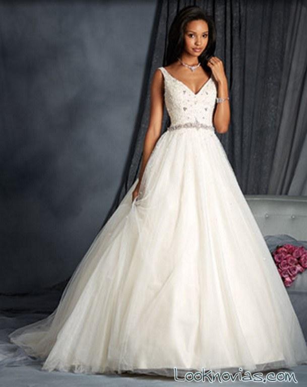 vestido de novia con tirantes alfred angelo