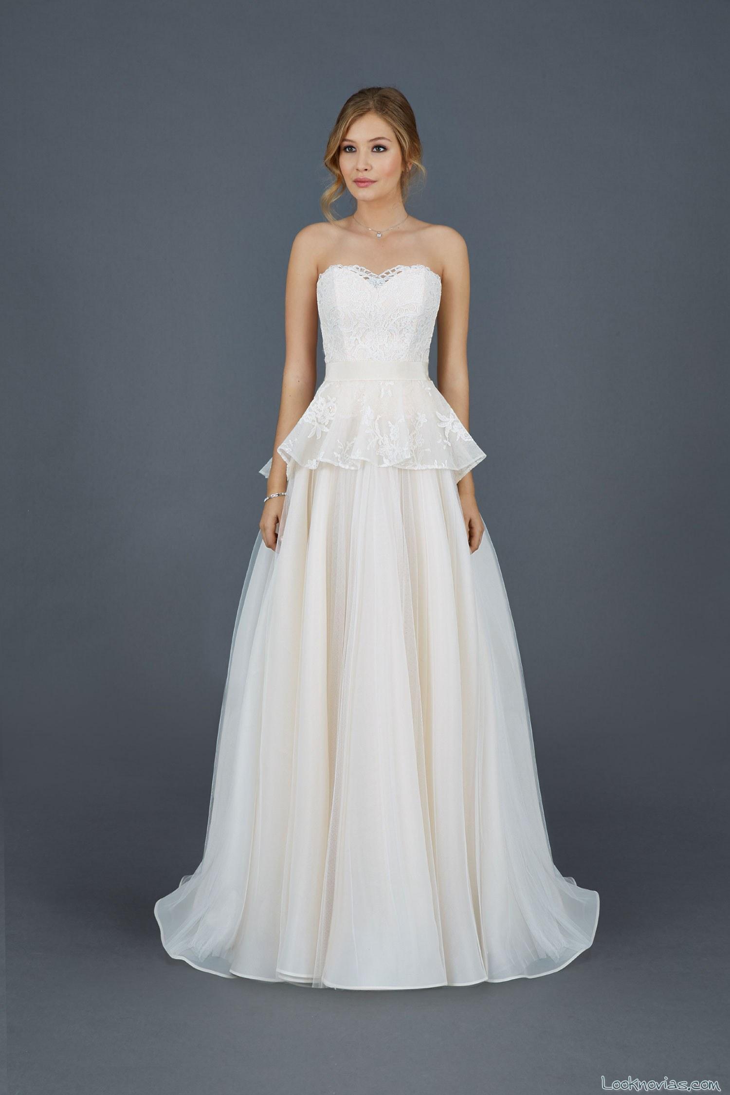 vestido de novia corte peplum original