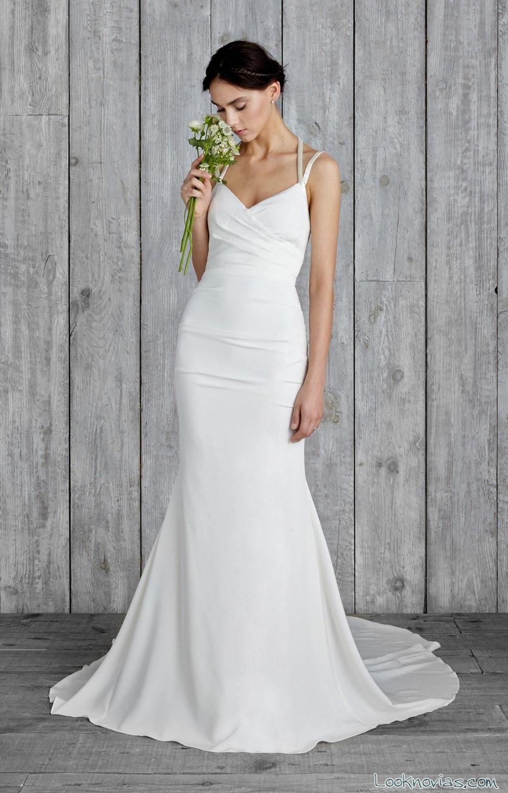 vestido de novia corte recto blanco