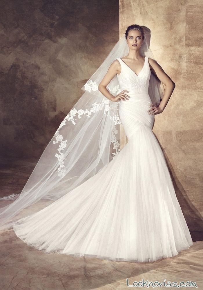 vestido de novia corte sirena con drapeados