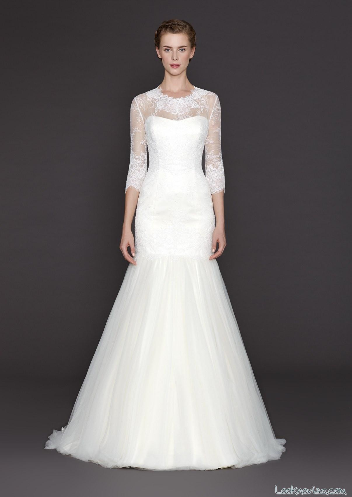 vestido de novia corte sirena con mangas