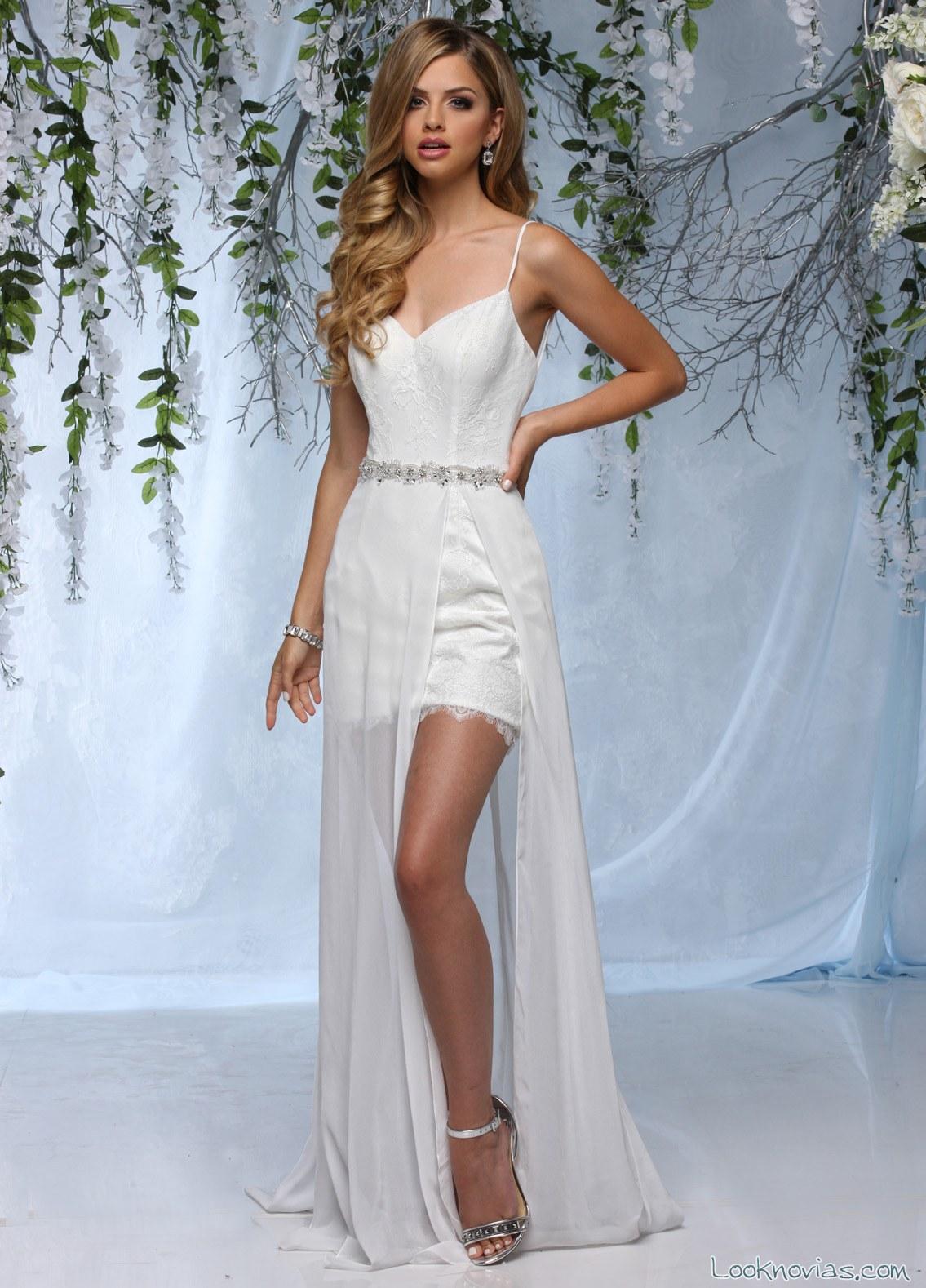 vestido de novia corto con falda de tul