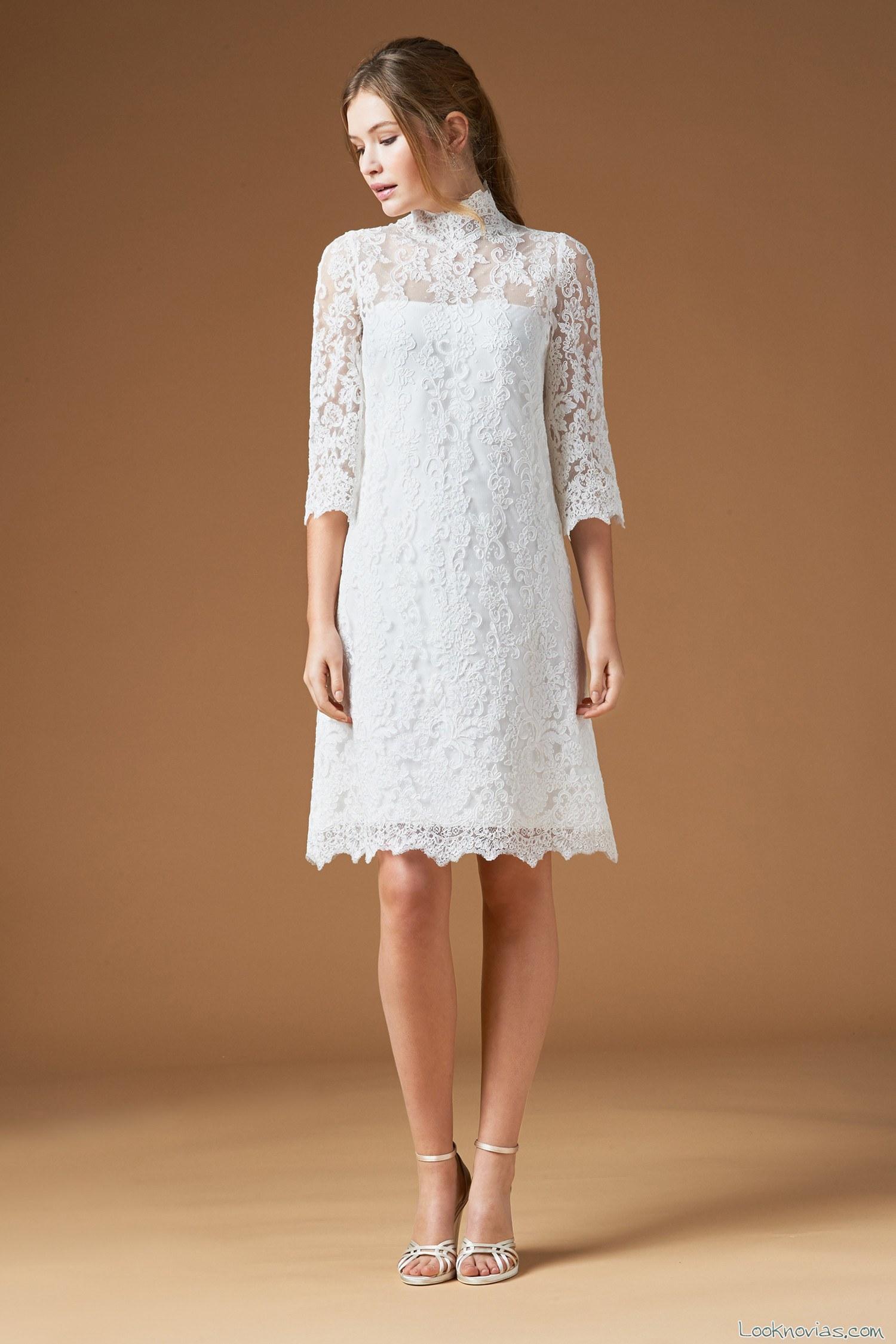 vestido de novia corto con manga de atelier