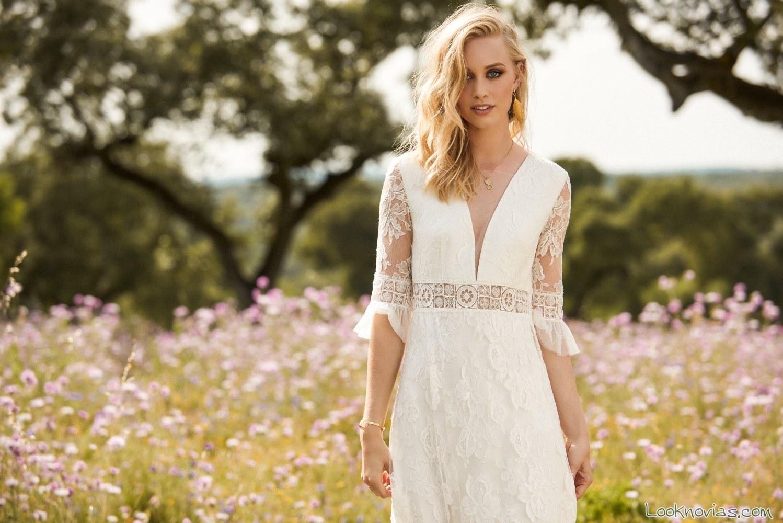 vestido de novia cubiertos por encaje boho