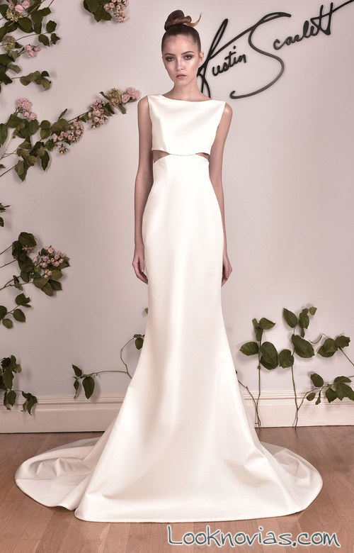 vestido de novia cut out con escote alto