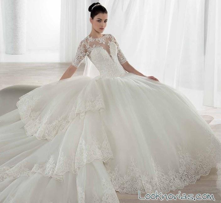 vestido de novia demetrios de manga corta