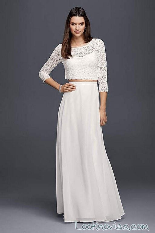 vestido de novia dos piezas david´s bridal