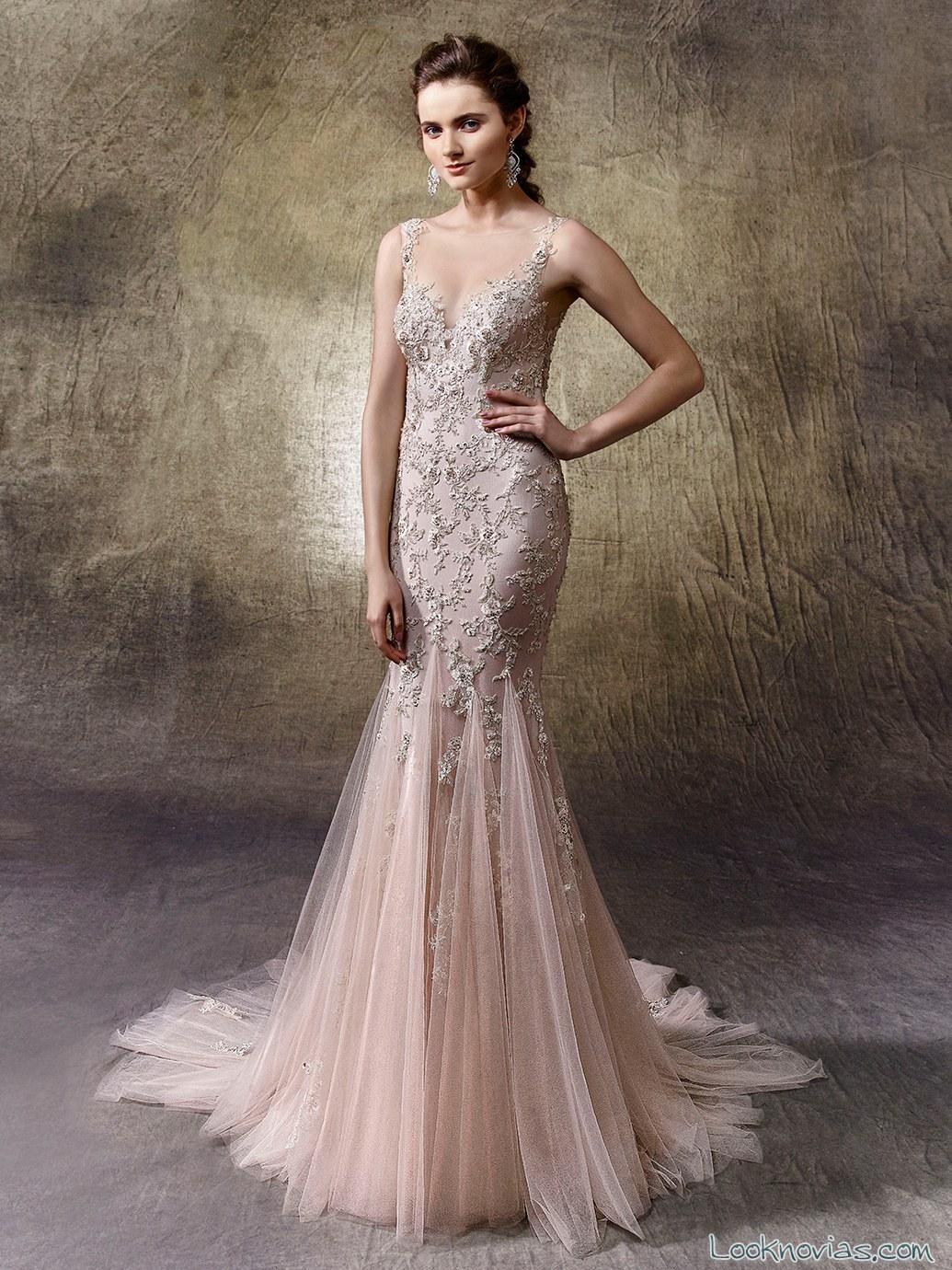 vestido de novia en color sirena enzoani