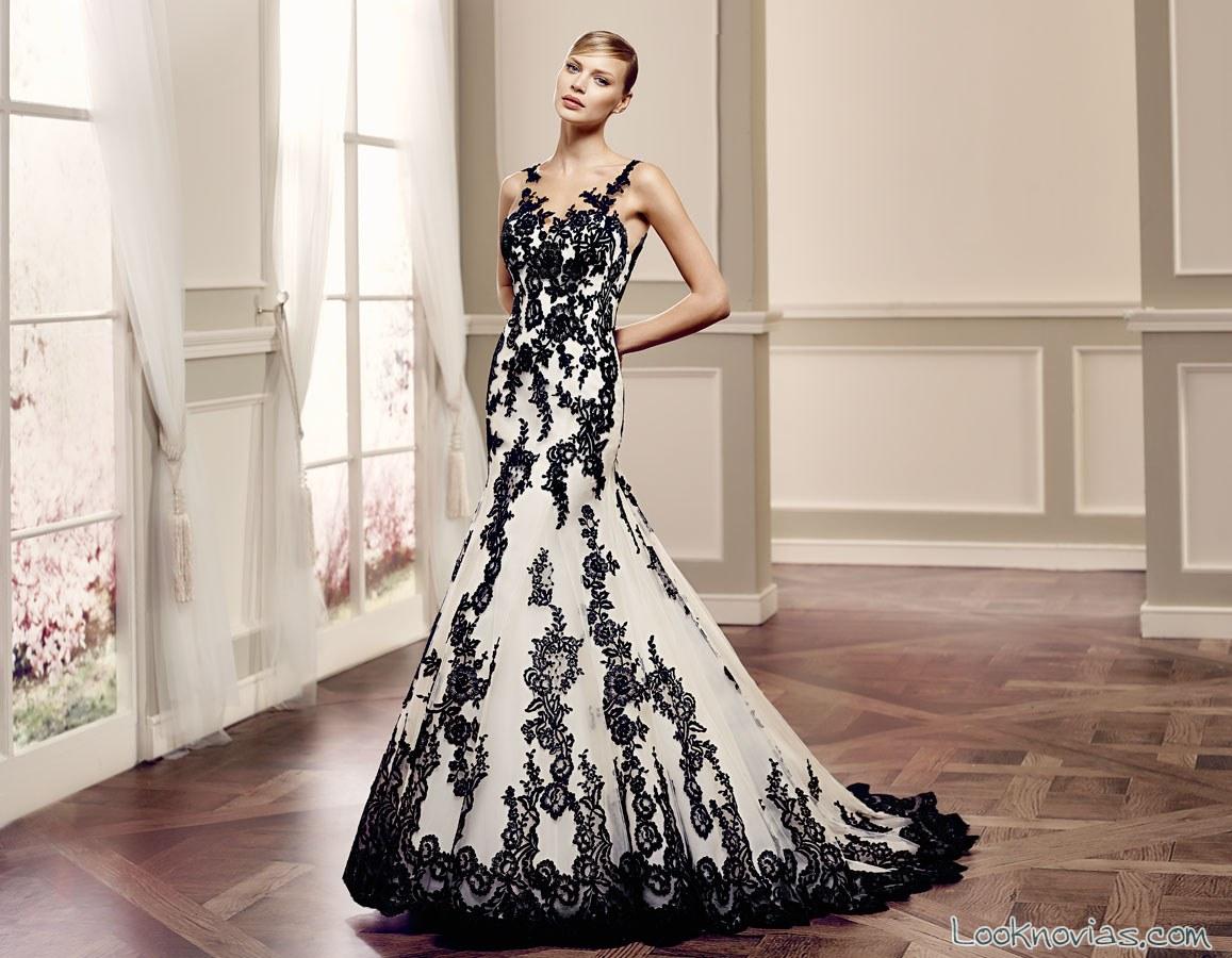 vestido de novia en combinación blanco y negro