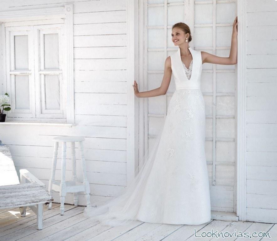 vestido de novia escote halter marylise