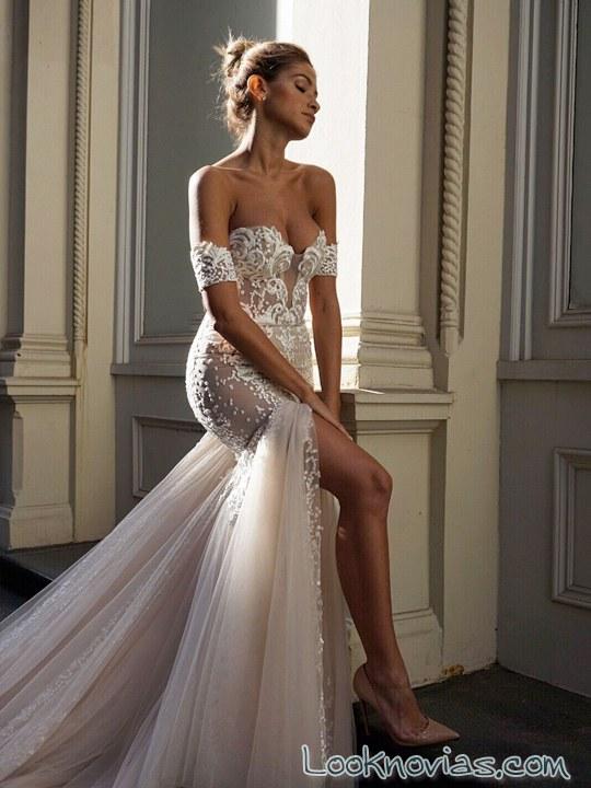 vestido de novia escote hombros caídos