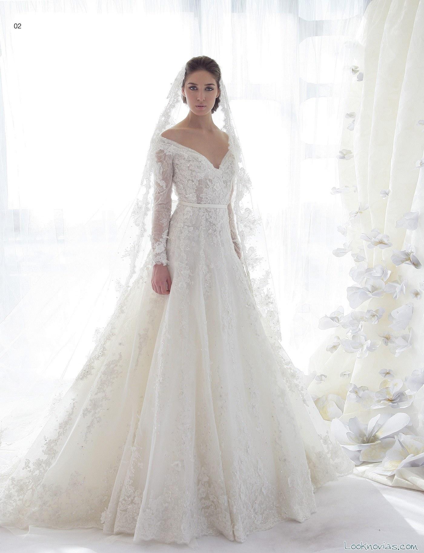 vestido de novia evasé ziad nakad