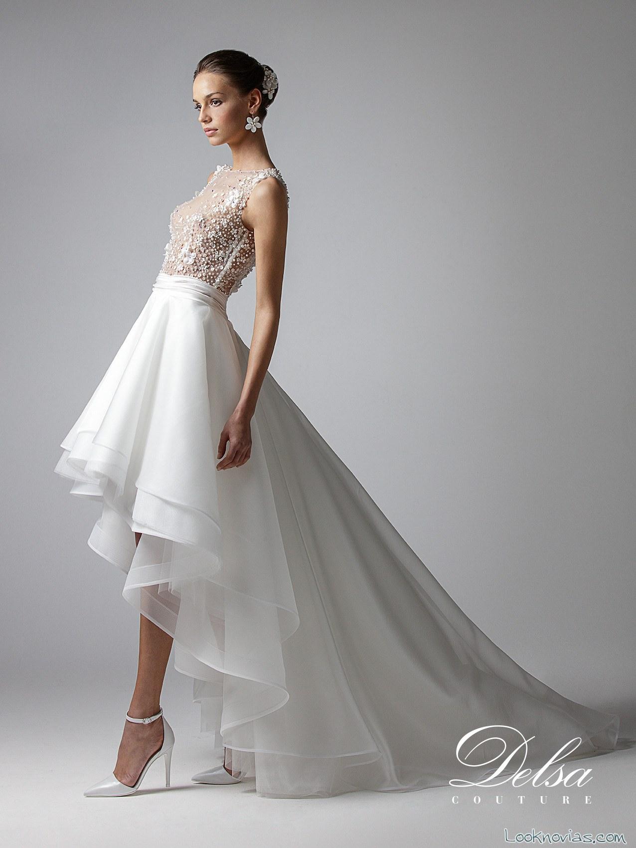 vestido de novia falda asimetrica delsa