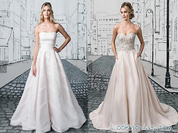 vestido de novia falda evasé con pedrería