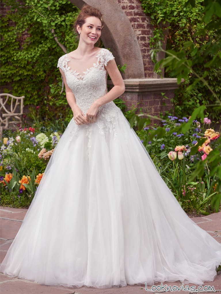 vestido de novia manga corta rebecca ingram