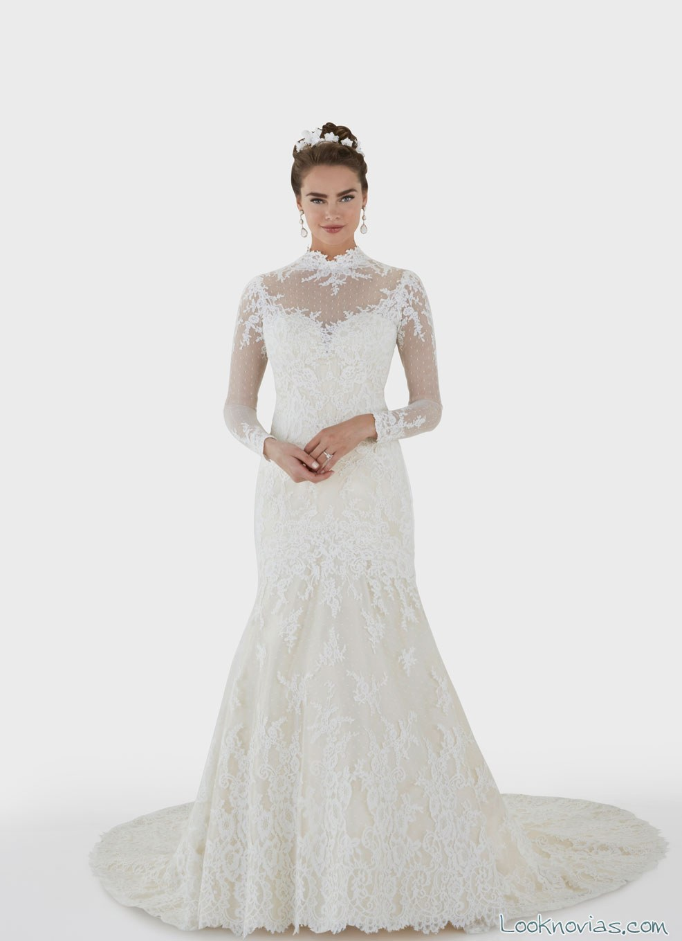 vestido de novia manga larga por matthew christopher