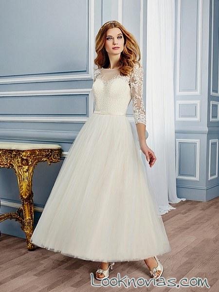 vestido de novia midi con manga