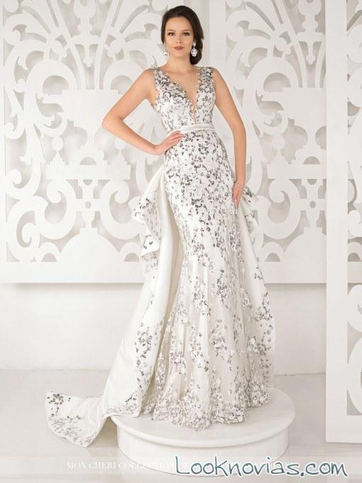 vestido de novia mon cheri con color