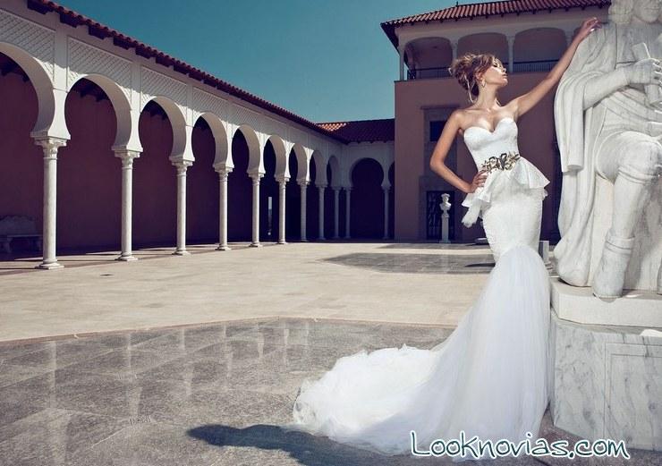 vestido de novia peplum con cinturón