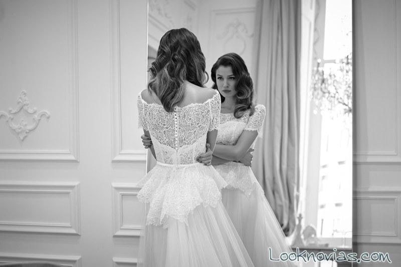 vestido de novia peplum con encajes