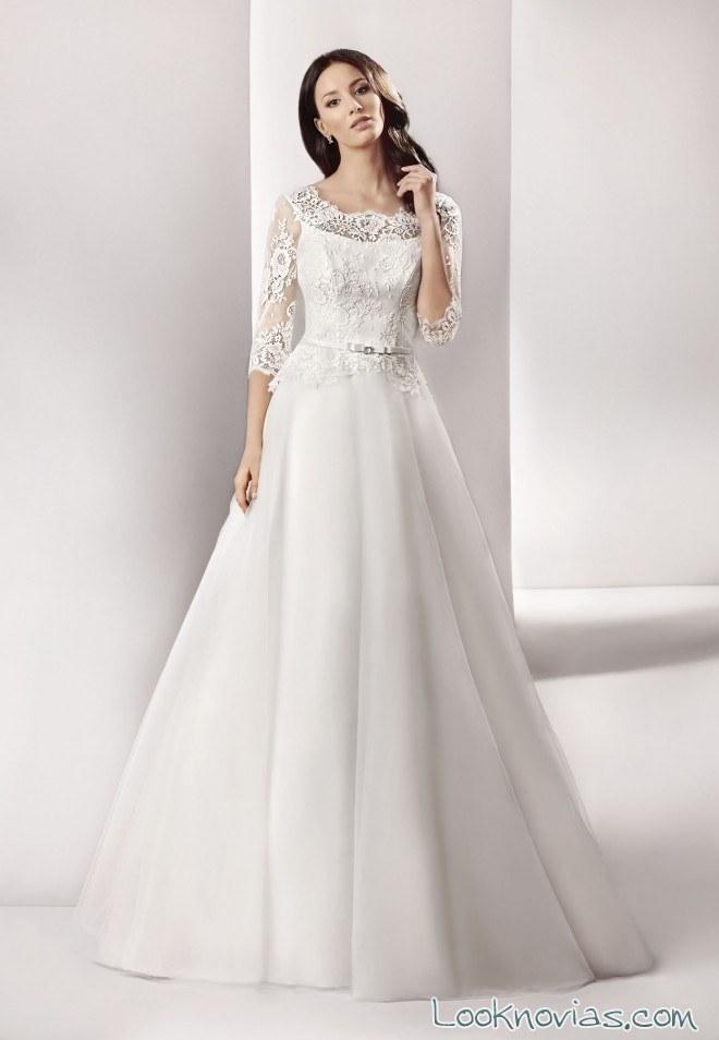 vestido de novia peplum moderno y romántico