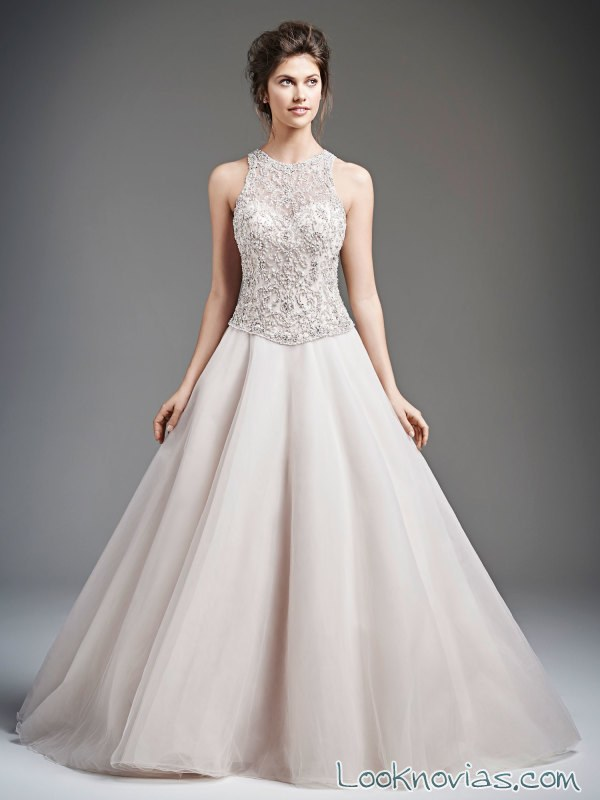 vestido de novia princesa con escote