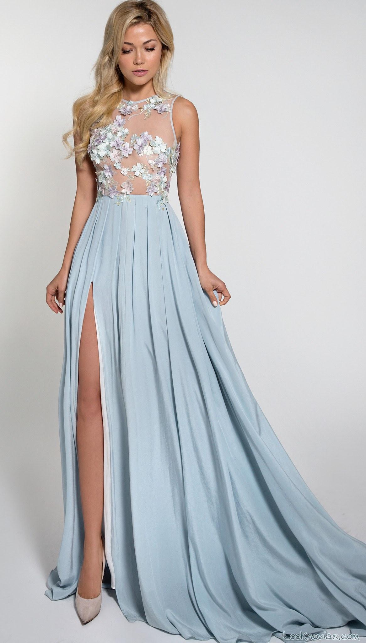 vestido de novia recto azul