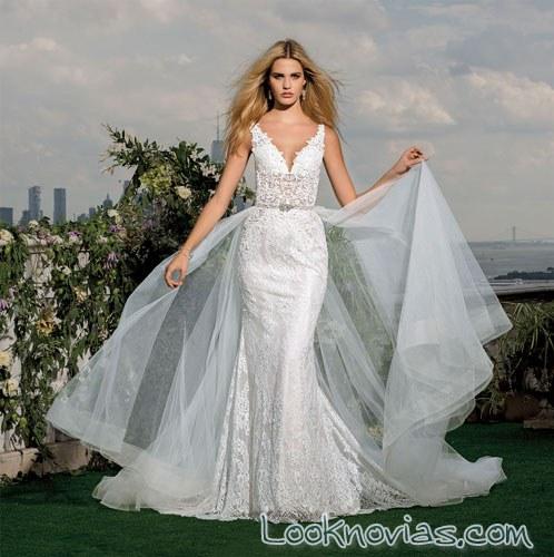 vestido de novia recto con doble falda