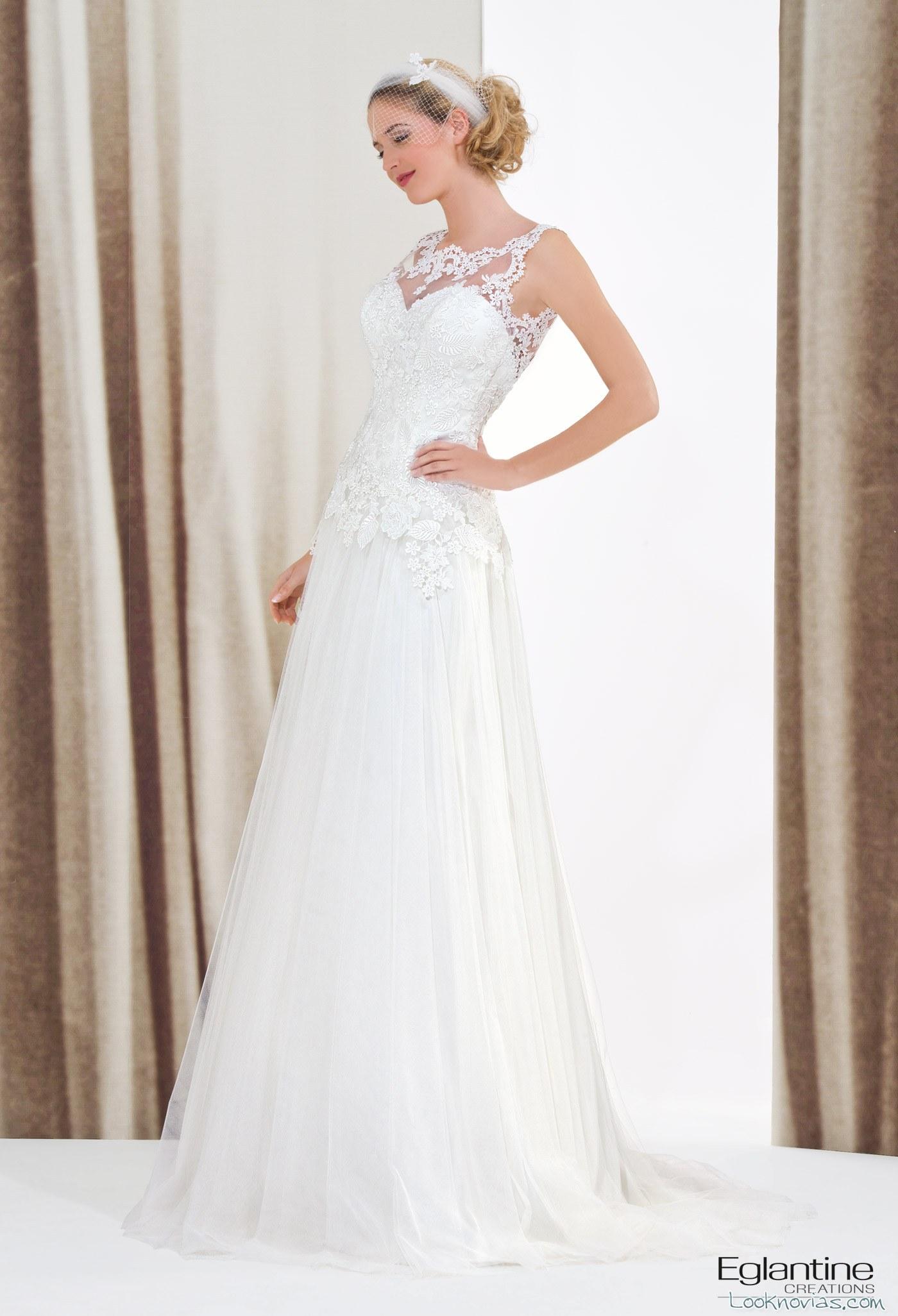 Vestido de novia recto con encajes eglantine