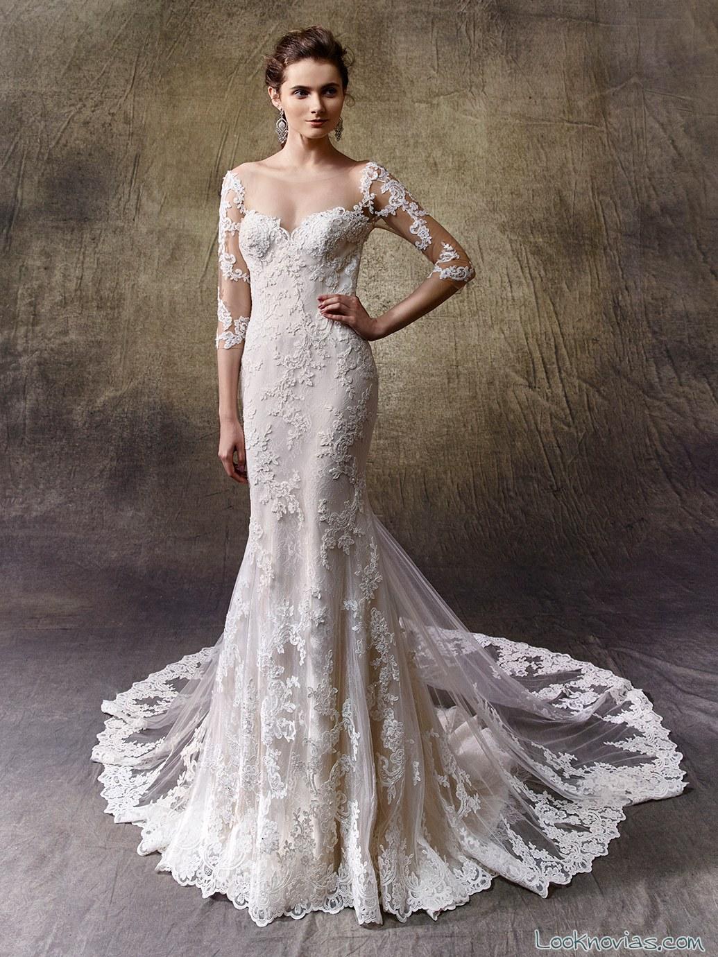vestido de novia recto con encajes enzoani