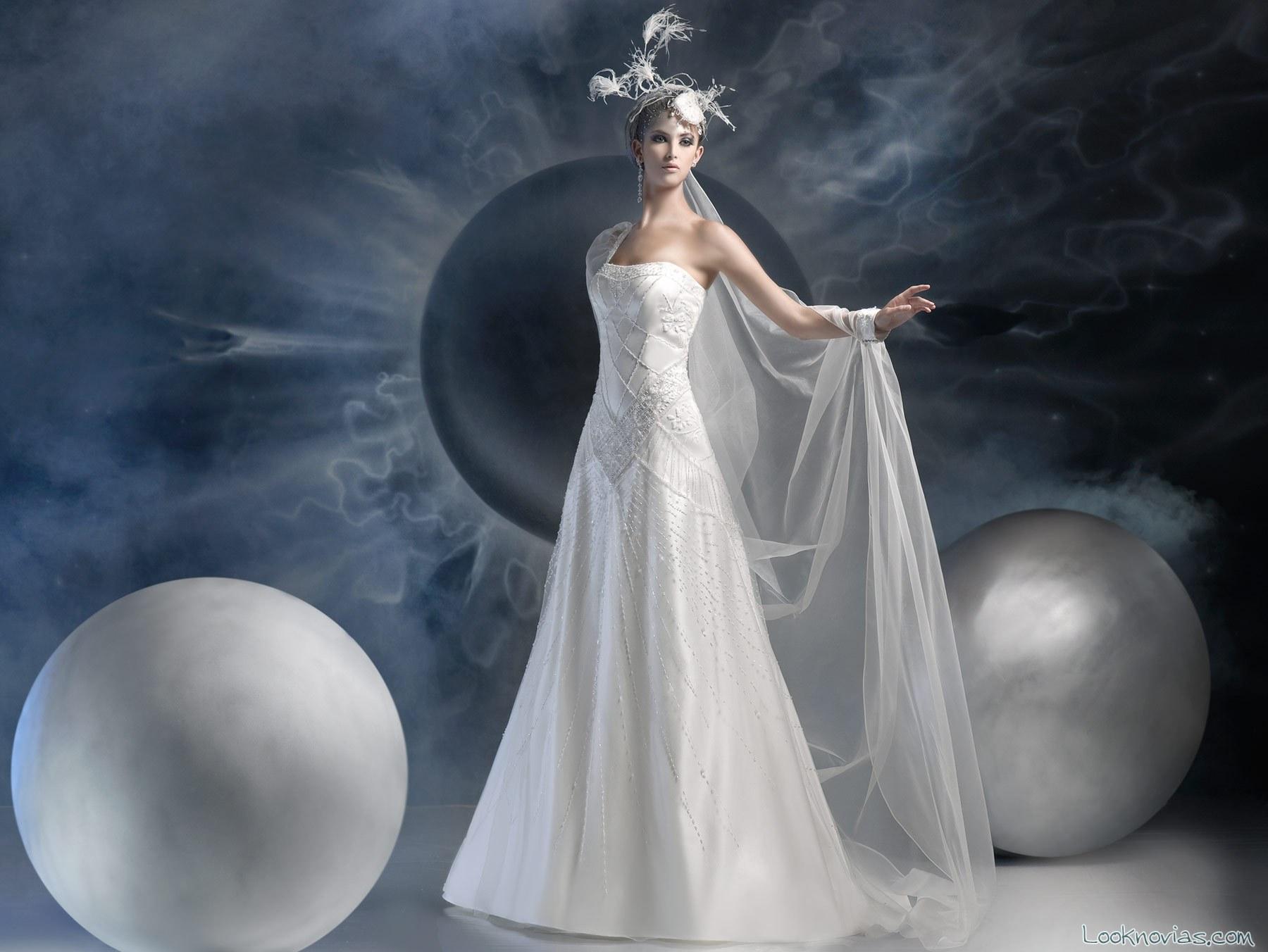 vestido de novia recto con gasa