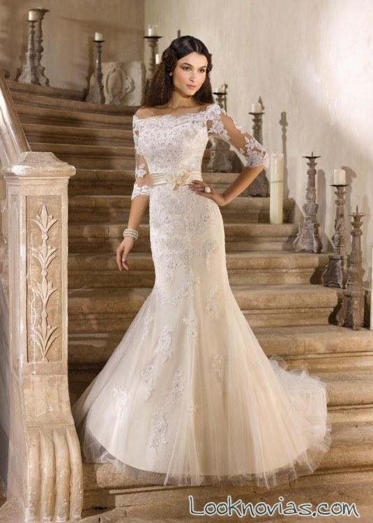vestido de novia recto con manga de miss kelly