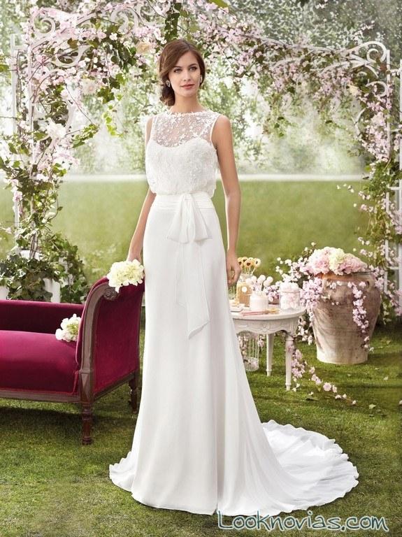 vestido de novia recto con parte superior floja