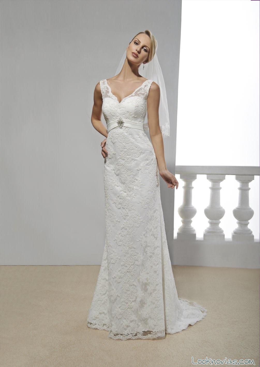 vestido de novia recto con tirantes de annie couture