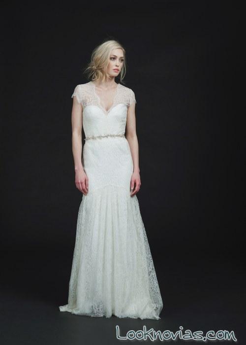 vestido de novia recto con tirantes de sarah seven