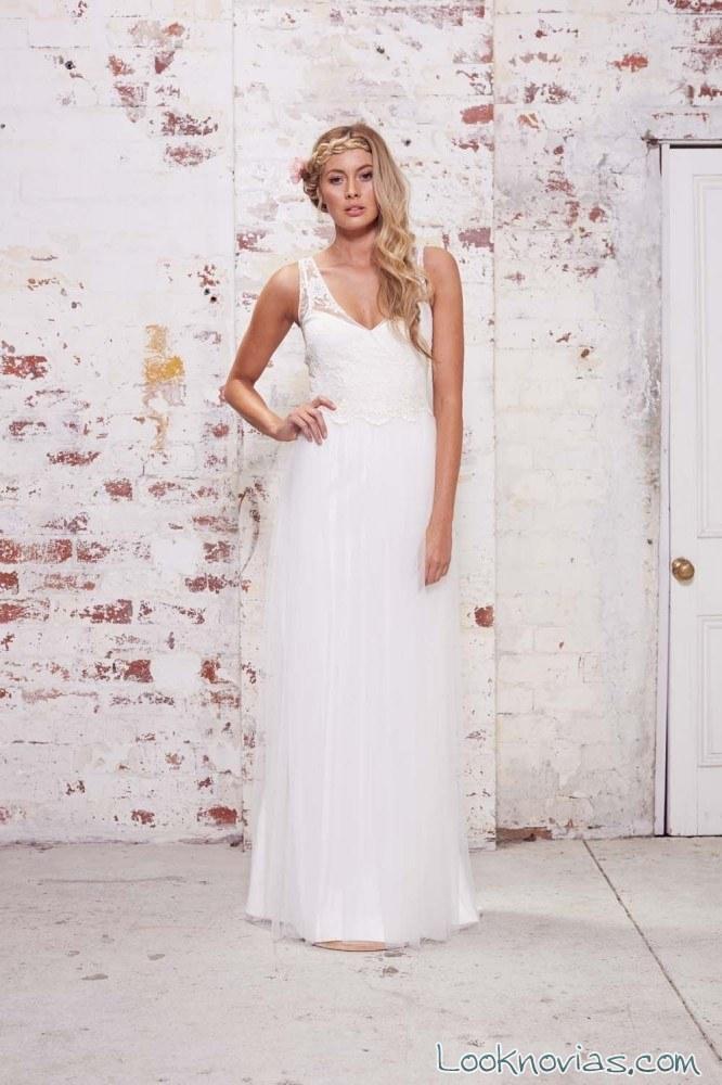 vestido de novia recto y moderno