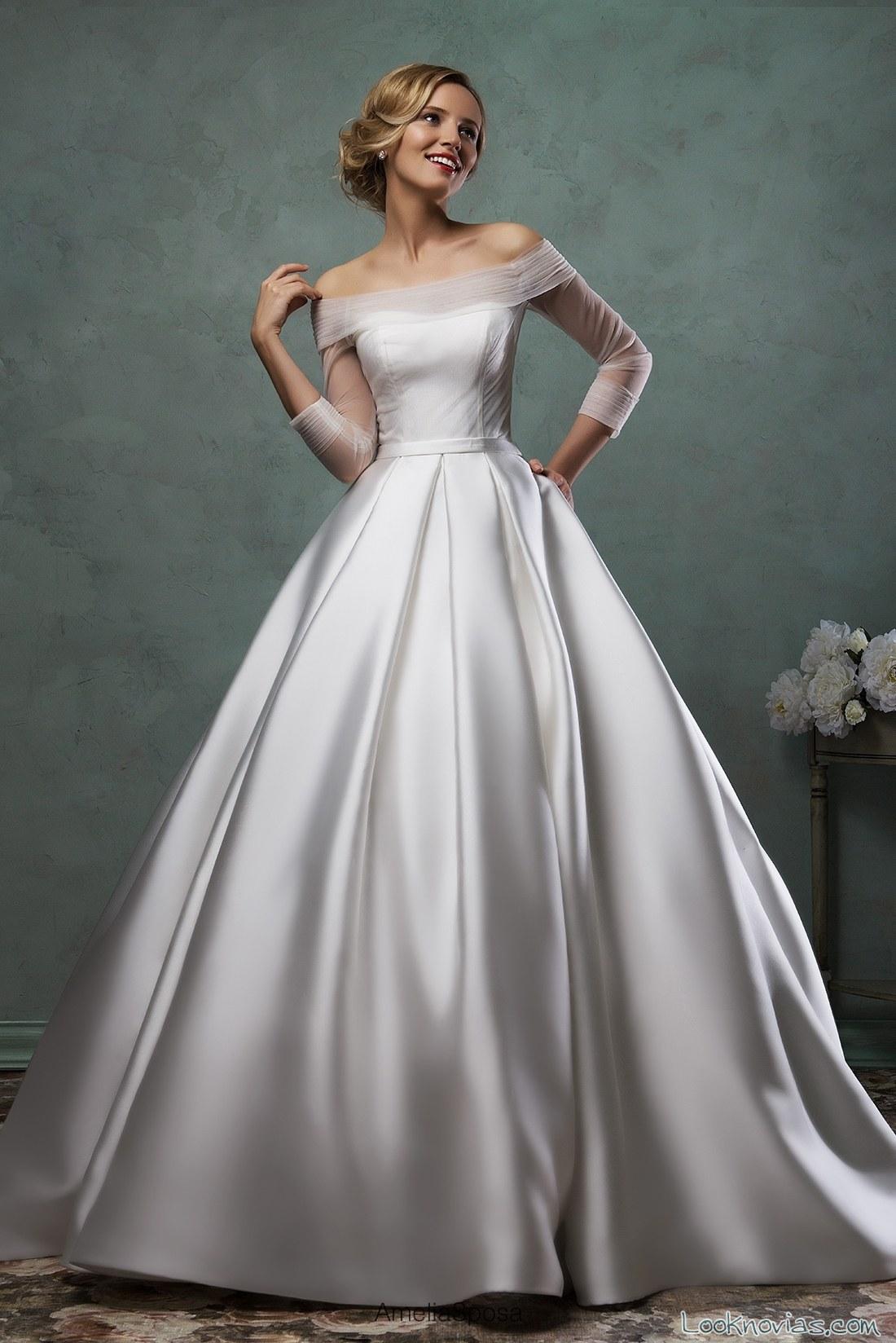 vestido de novia satinado y con mangas