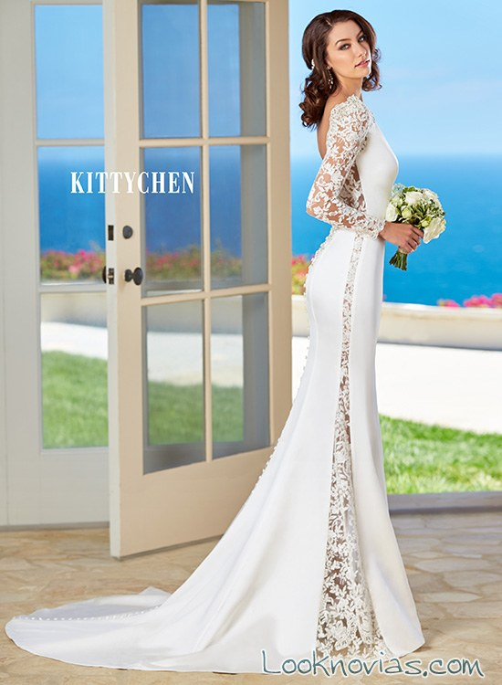 vestido de novia sensual con manga