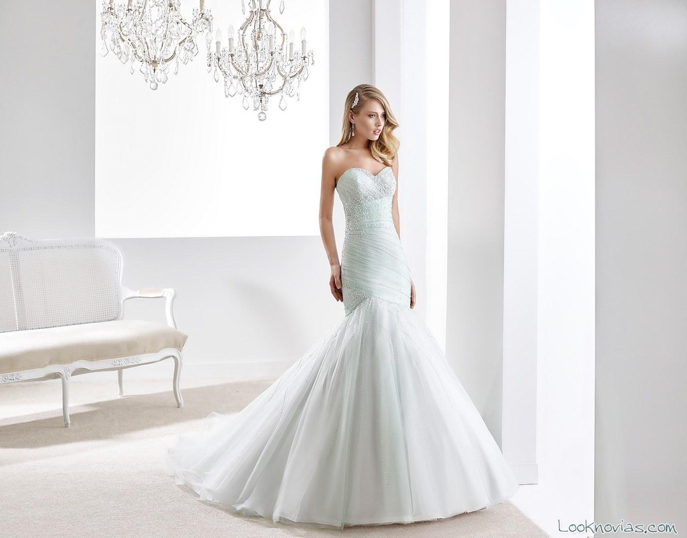 vestido de novia sirena color menta