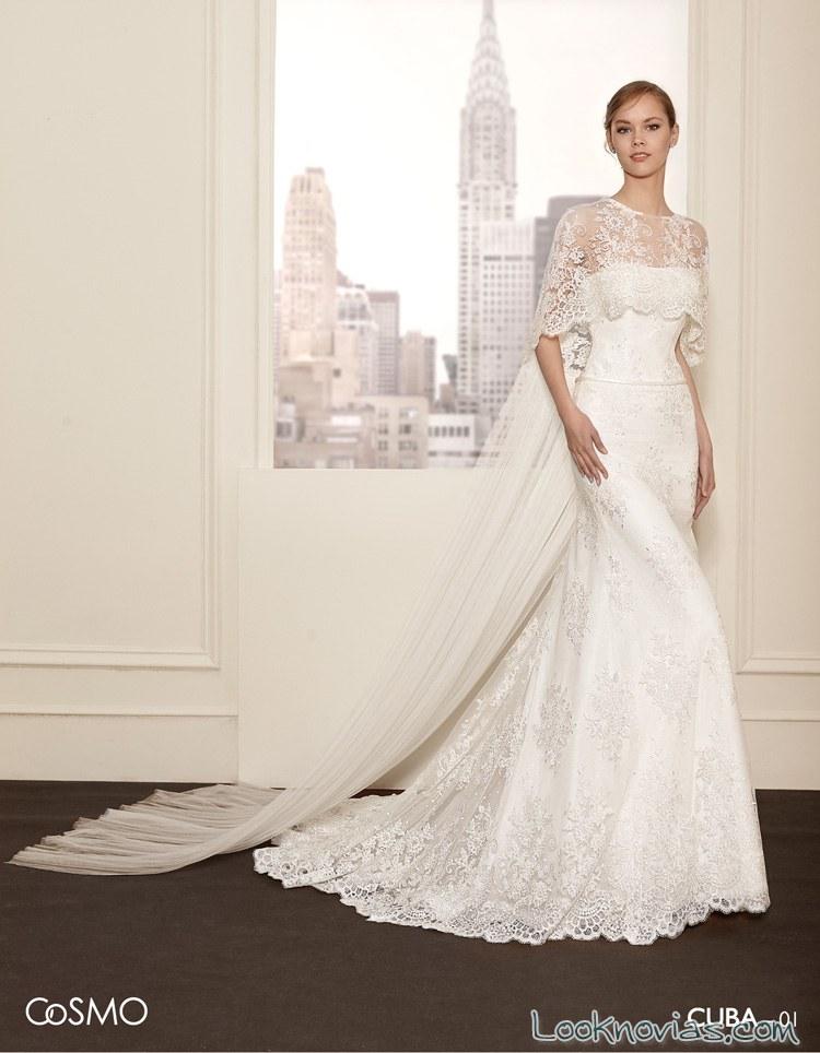 vestido de novia sirena con capa villais