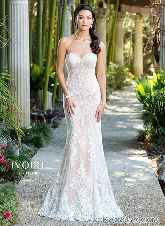 vestido de novia sirena con escote corazón