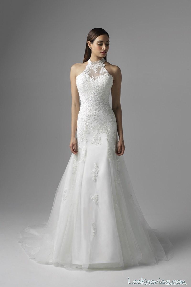 vestido de novia sirena con escote halter