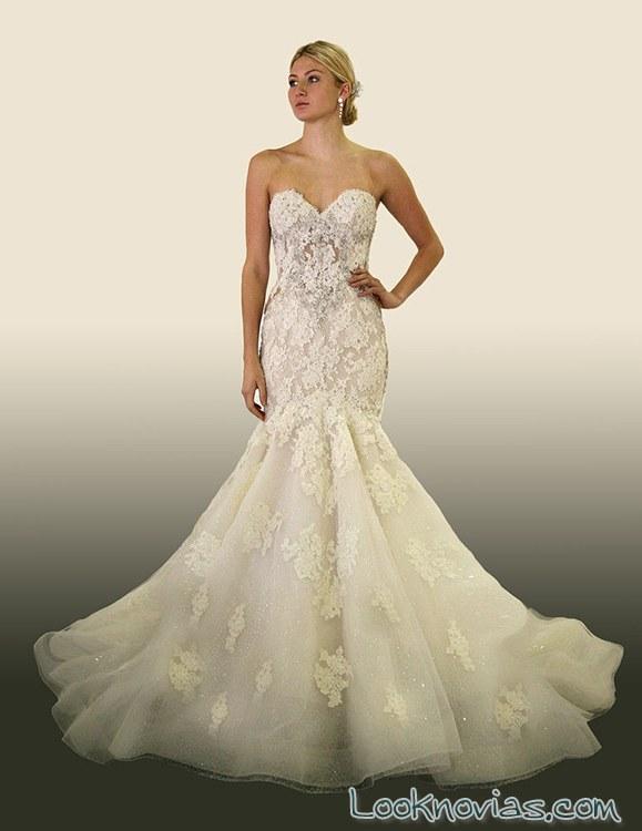 vestido de novia sirena con falda de volumen