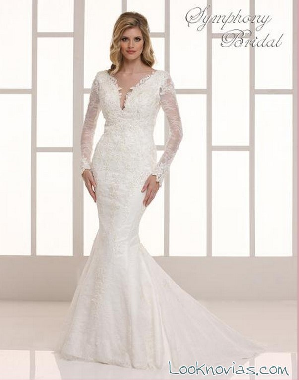 vestido de novia sirena con mangas symphony bridal