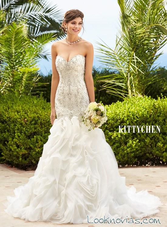 vestido de novia sirena con volantes kittychen