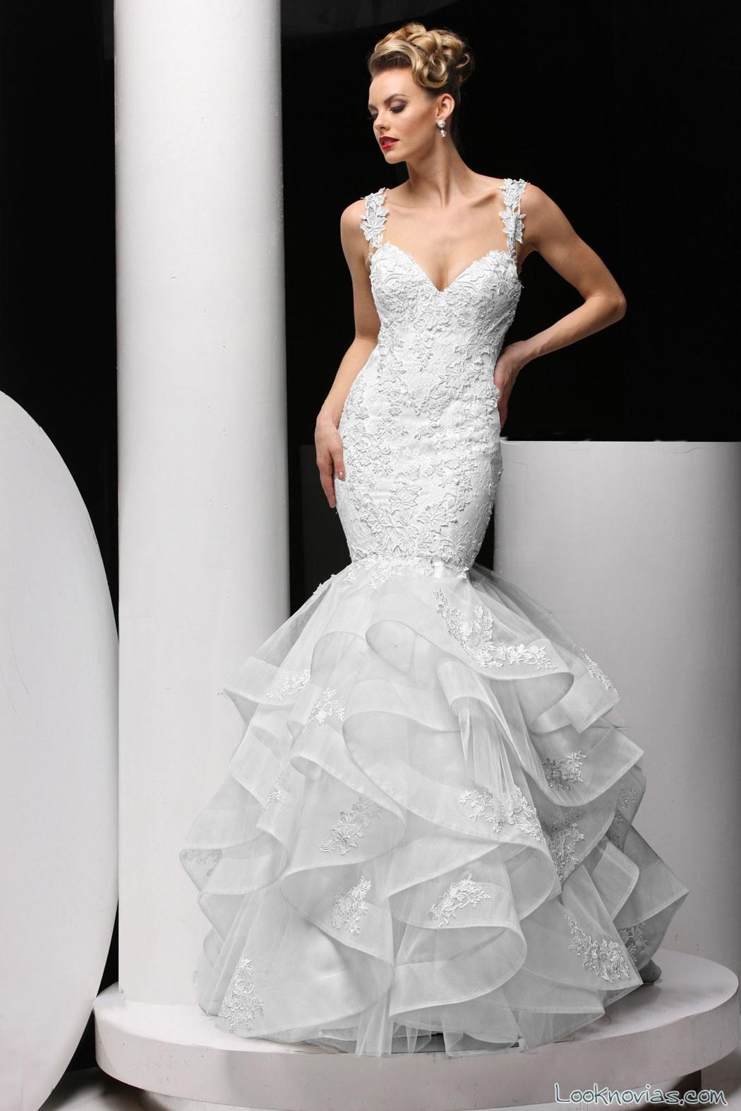 vestido de novia sirena con volantes