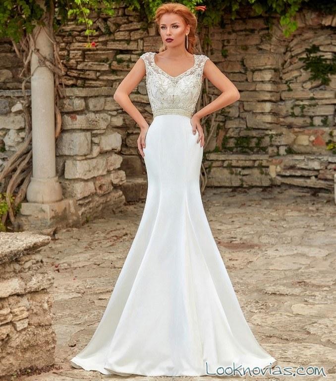 vestido de novia sirena falda lisa
